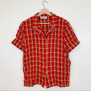 Vintage Plaid Short Sleeved 10 Button Down Top